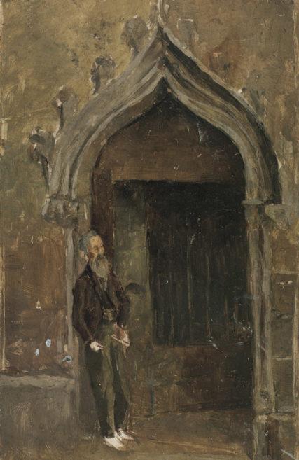 Pablo Picasso Mężczyzna oparty na gotyckim portalu w katedrze w Barcelonie